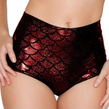 High waist fish scale shorts - Red