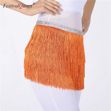 Hip Scarfs Fringe Skirt - Orange / One Size