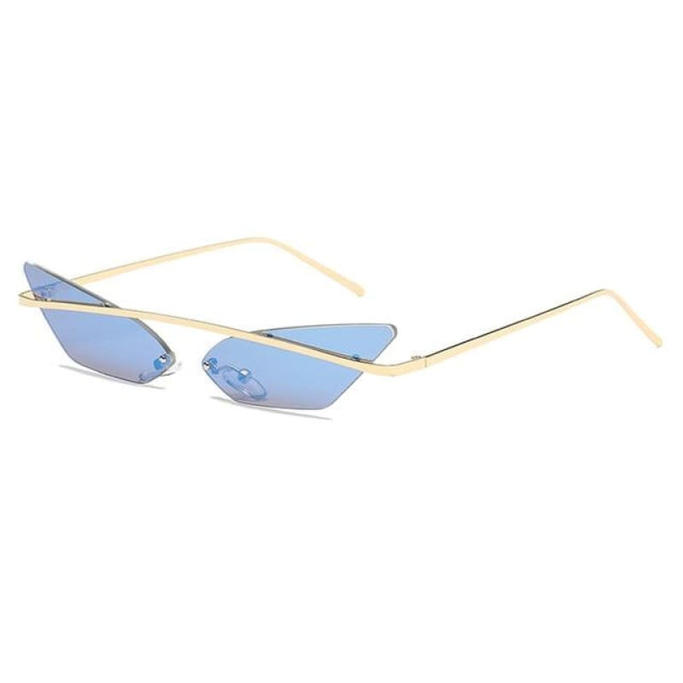 Luxury Cat Eye Sunglasses - blue mirror
