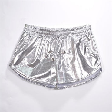 Metallic Yoga Shorts - Silver / L