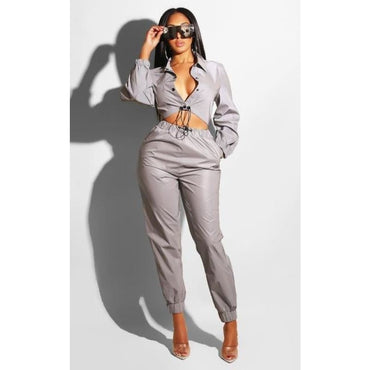 Reflective Tracksuit 2 Piece Set - gray two piece set / S / United States