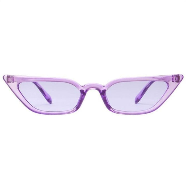 Retro Cat Eye Sunglasses - clear purple / as picture