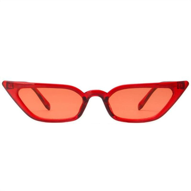 Retro Cat Eye Sunglasses - clear red / as picture