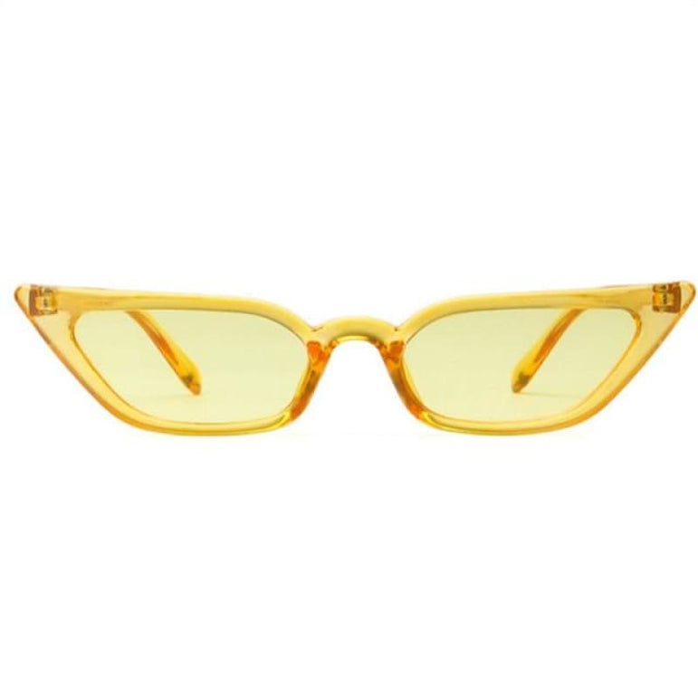 Retro Cat Eye Sunglasses - clear yellow / as picture