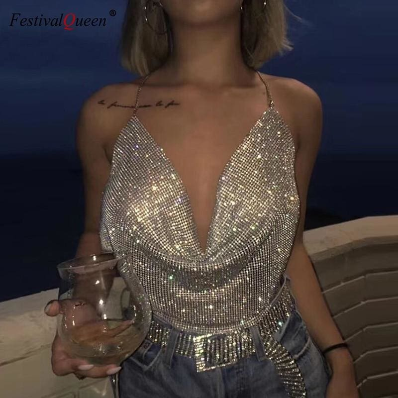 Rhinestone Backless Party Crop Top - Golden / One Size