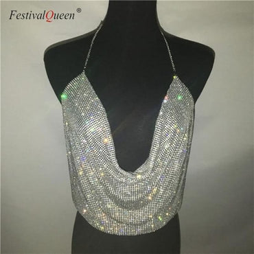 Rhinestone Backless Party Crop Top - Silvery / One Size