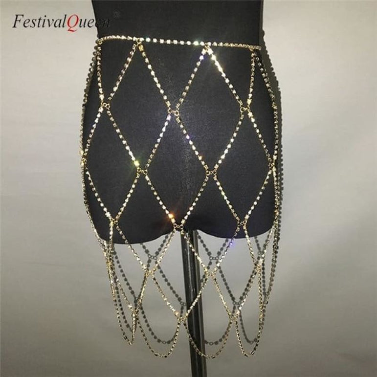 Rhinestone Cage Skirt - gold / One Size