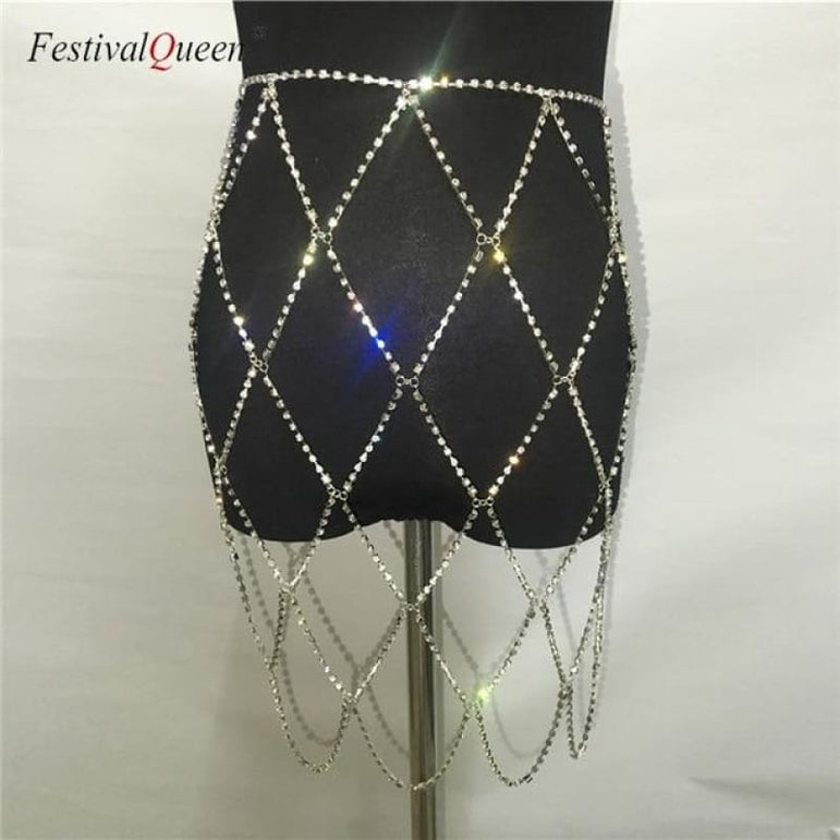 Rhinestone Cage Skirt - silver / One Size