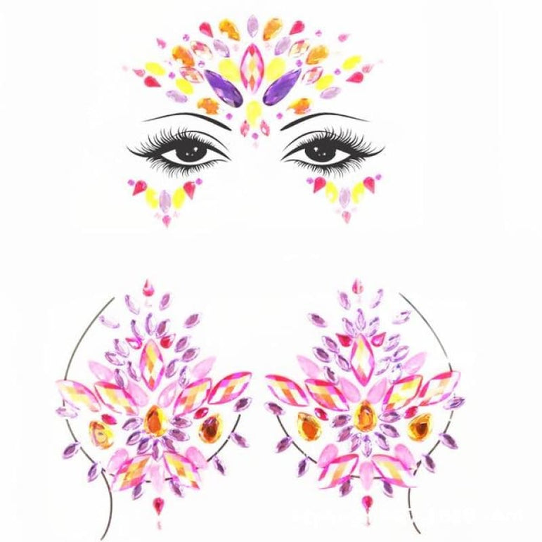 Rhinestone Face Stickers and Festival Body Stickers - 14