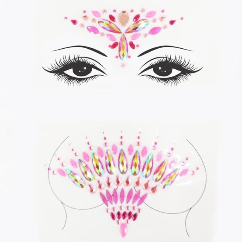 Rhinestone Face Stickers and Festival Body Stickers - 17