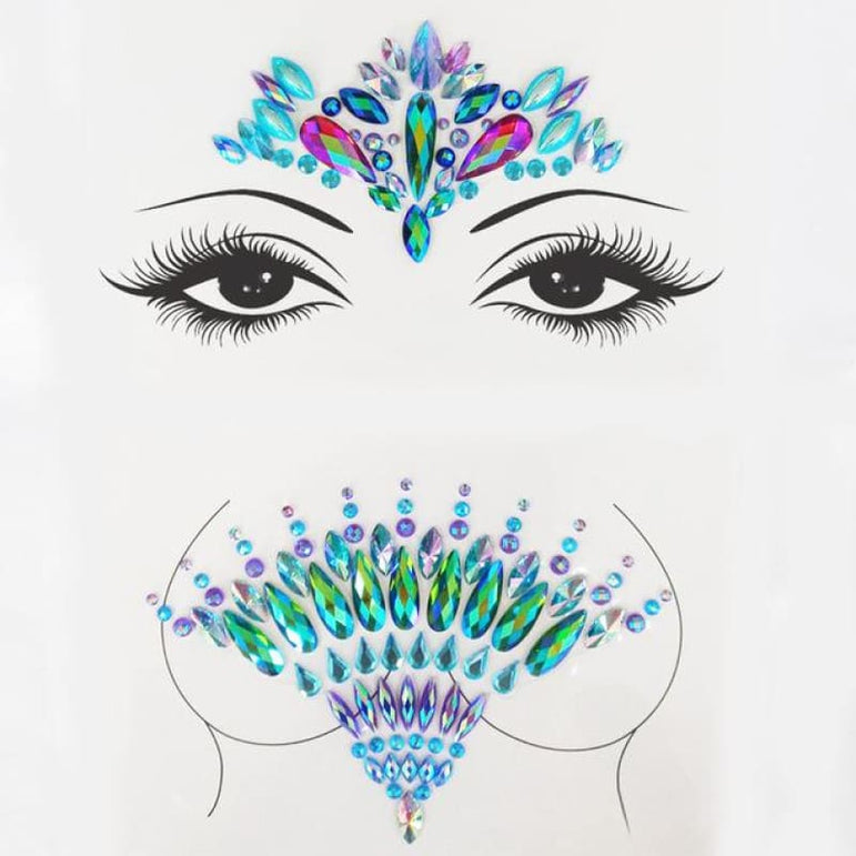Rhinestone Face Stickers and Festival Body Stickers - 18