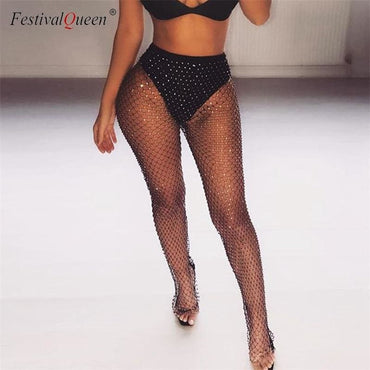 Rhinestone Fishnet Pants