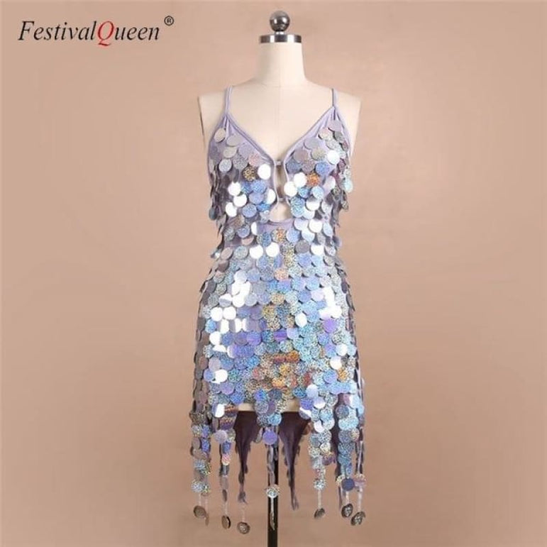 Sequin Festival Dress - Gray / One Size
