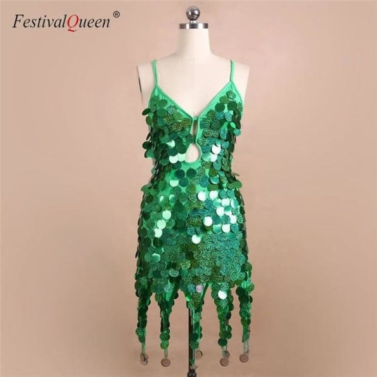 Sequin Festival Dress - Green / One Size