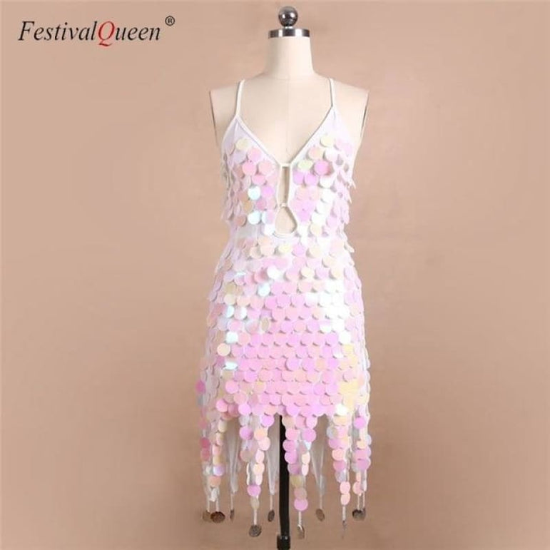 Sequin Festival Dress - Pink / One Size