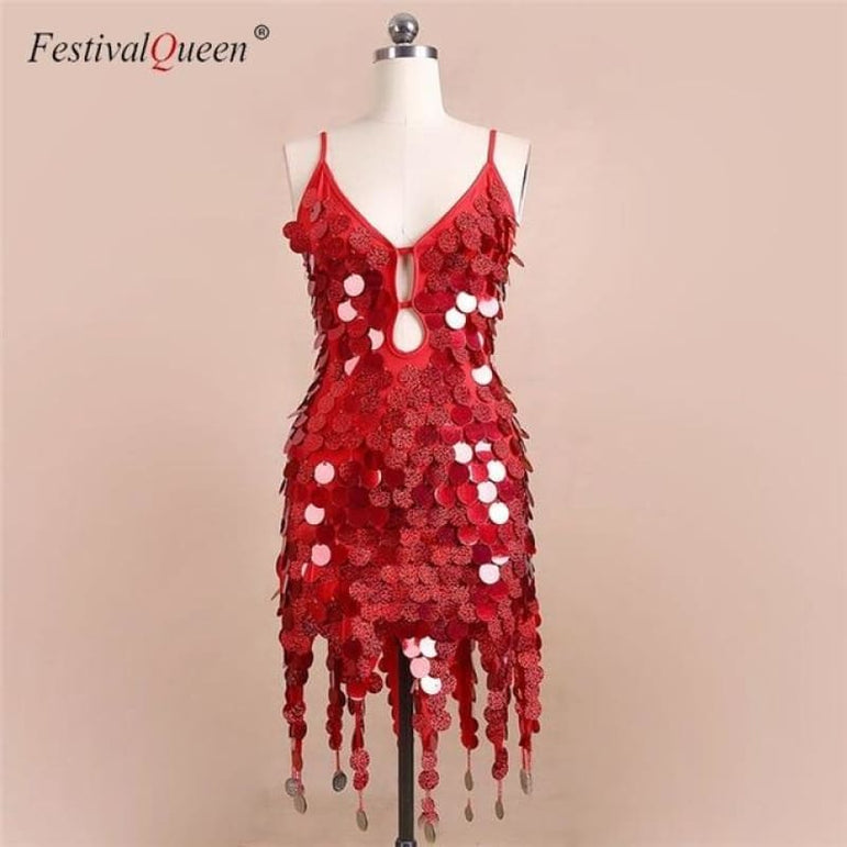 Sequin Festival Dress - Red / One Size