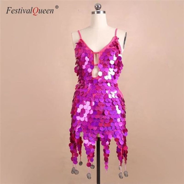 Sequin Festival Dress - rose red / One Size