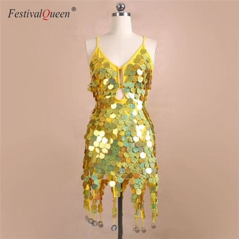 Sequin Festival Dress - Yellow / One Size