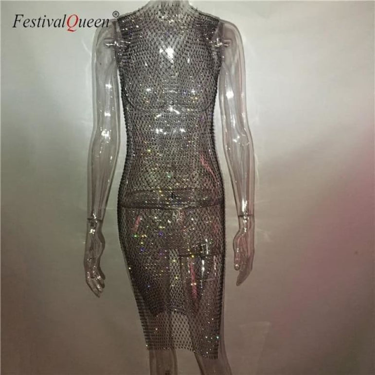 Sheer Fishnet Rhinestone Mesh Dress - black long o neck / One Size