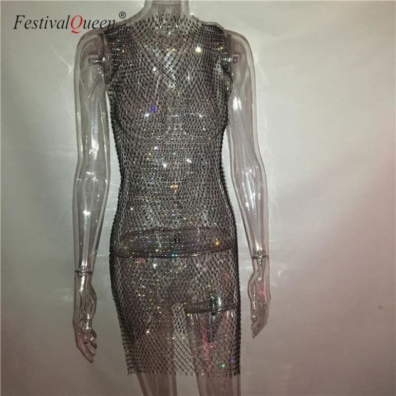 Sheer Fishnet Rhinestone Mesh Dress - black mini o neck / One Size