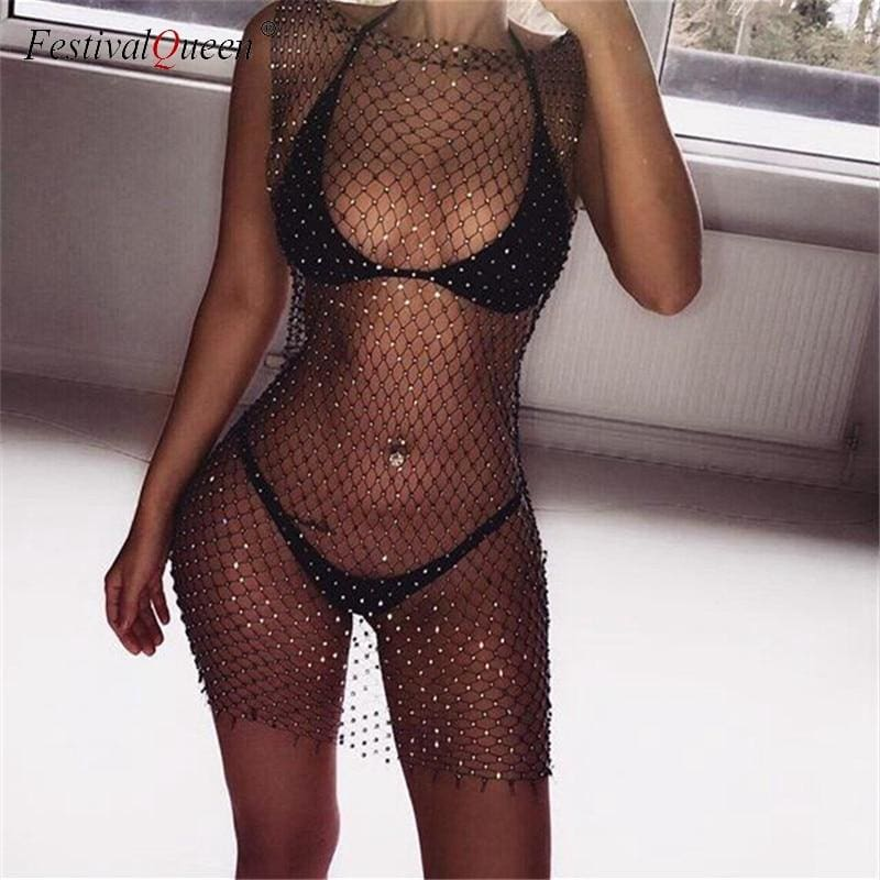Rhinestone Mesh Dress