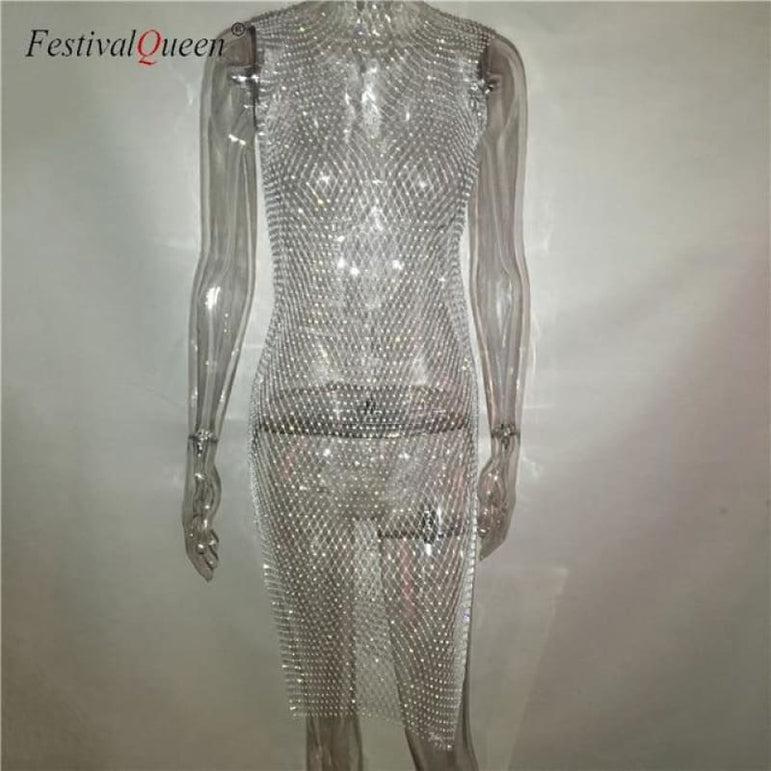 Sheer Fishnet Rhinestone Mesh Dress - white long o neck / One Size