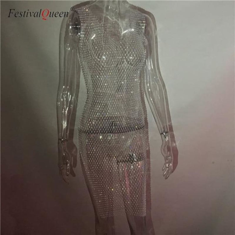 Sheer Fishnet Rhinestone Mesh Dress - white long v neck / One Size