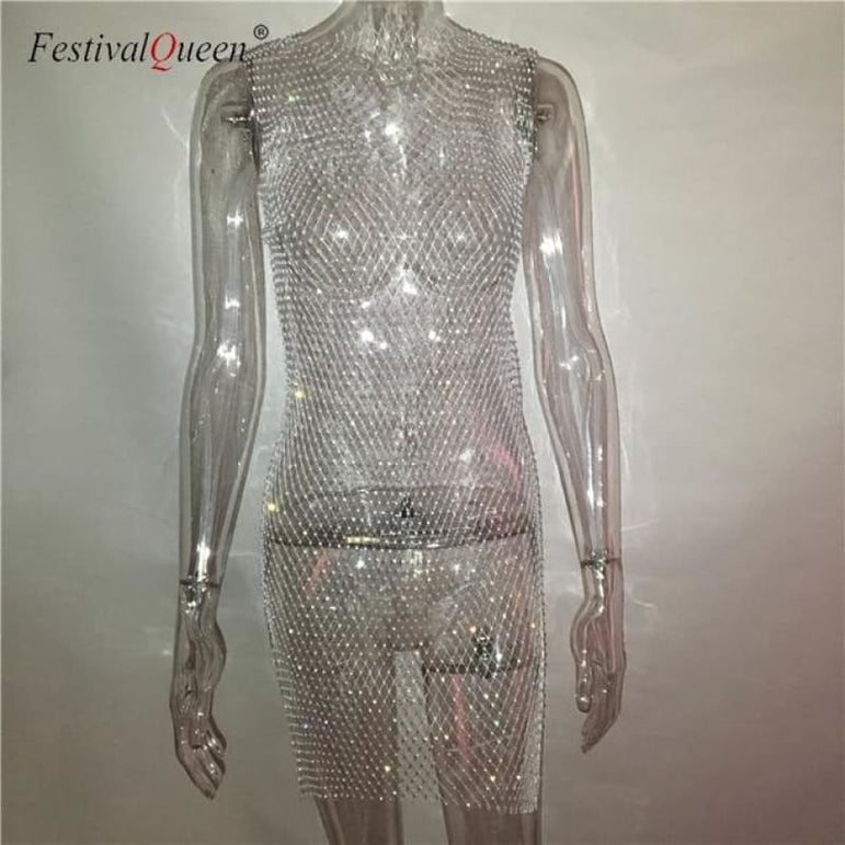 Sheer Fishnet Rhinestone Mesh Dress - white mini o neck / One Size