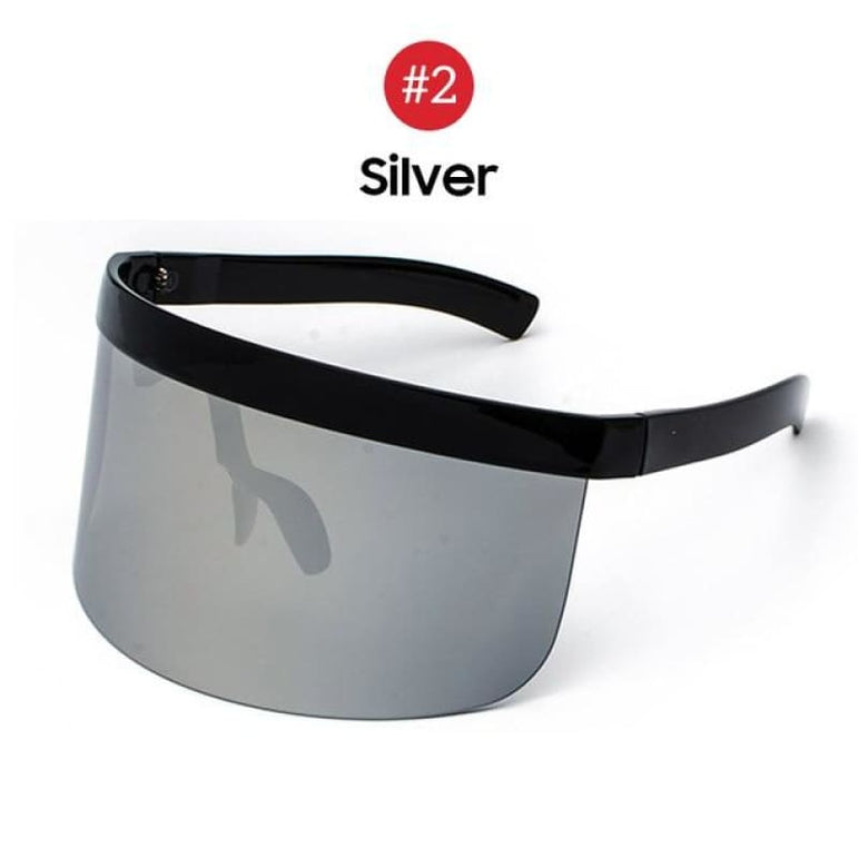 Visor Sunglasses - Futuristic Face Shield - 2 Silver