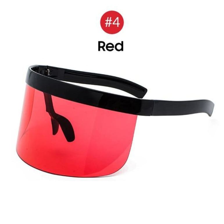 Visor Sunglasses - Futuristic Face Shield - 4 Red