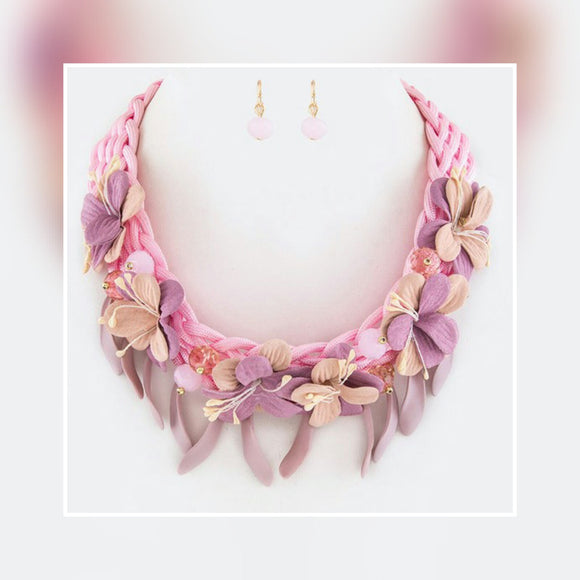 JEWELRY -    Braided Flower Necklace Set