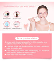 Anti Aging Natural Crystal Stone Facial Massage Tool Rose Quartz Jade Roller for Face with Gua Sha Board Set