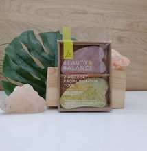 Load image into Gallery viewer, Beauty & Balance 2pc Set Jade and Rose Quartz Gua Sha Beauty Tool