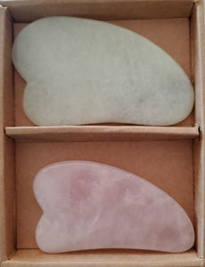 Beauty & Balance 2pc Set Jade and Rose Quartz Gua Sha Beauty Tool