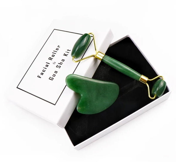 2 piece Jade Roller and Gua Sha Set