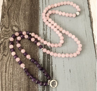 108 Mala Necklace/Bracelet Rose Quartz and Amethyst Natural stone bead
