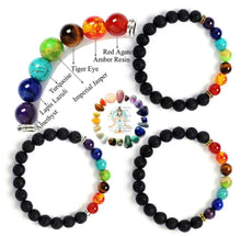 Load image into Gallery viewer, 7 Chakra Valconic Stretch Beaded Diffuser Bracelet