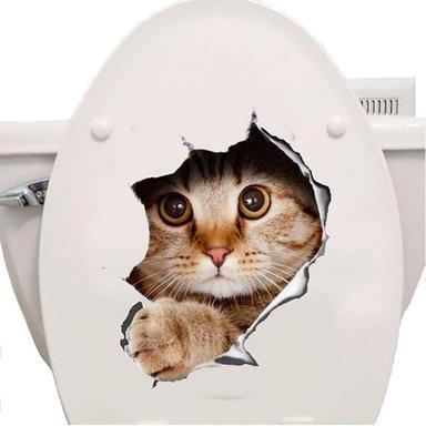3D Cat Bathroom Decoration