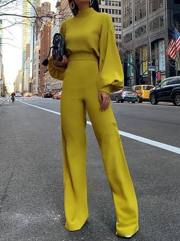 Fashion Bishop Sleeve Pure Colour Half Collar Jumpsuits