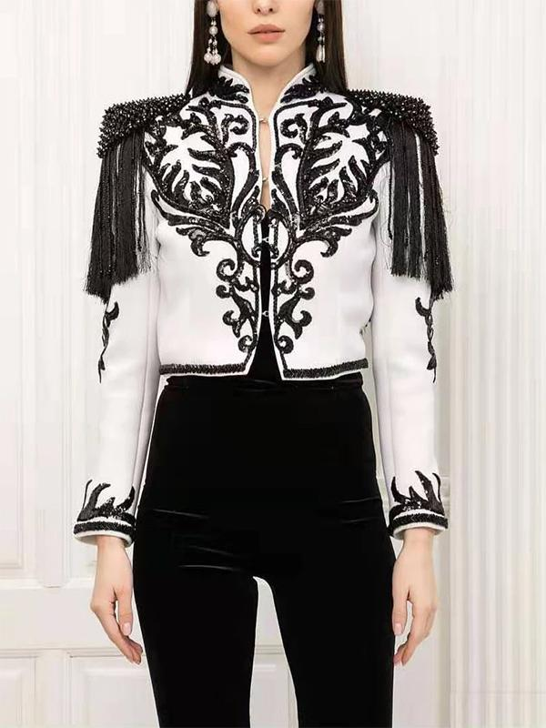 Embroidered Long Sleeve Blazer