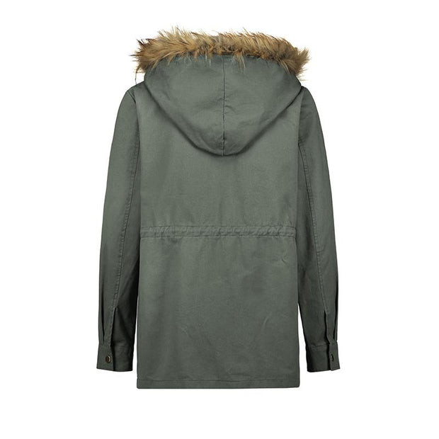 Leisure Pure Color Single Row Buckle Hooded Overcoat