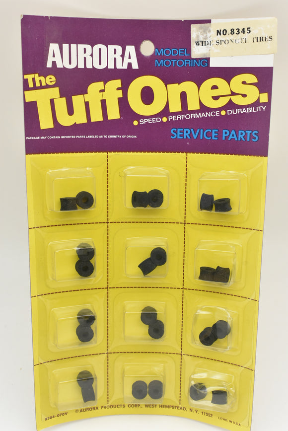 Aurora Model Motoring | 8345| Tuff One Sponges Tires| 1 card of 12/Pk| The Tuff Ones-Toys & Hobbies:Slot Cars:HO Scale:1970-Now-ProTinkerToys.com