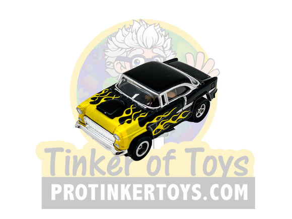 1955 Chevy Bel Air Black with Yellow Flames | CP7760PT | Auto World | Exclusive #2-Auto World-ProTinkerToys