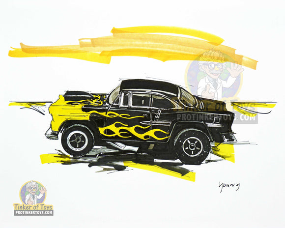 "Black '55 Chevy Bel Air Slot Car Sketch Print | 8""x10"" 