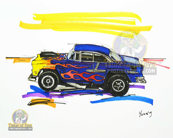 "Burple '55 Chevy Bel Air Slot Car Sketch Print | 8""x10"" 