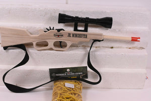 MAGNUM RUBBER BAND GUNS JRWNCHSTR JR. WINCHESTER RIFLE W/ SCOPE & SLING W/ AMMO-Magnum wooden guns-ProTinkerToys