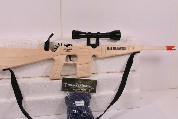 M-16 Marauder w/ Scope & Sling + Ammo | GL2M1622 | Magnum Rubber Band Guns-Magnum wooden guns-ProTinkerToys
