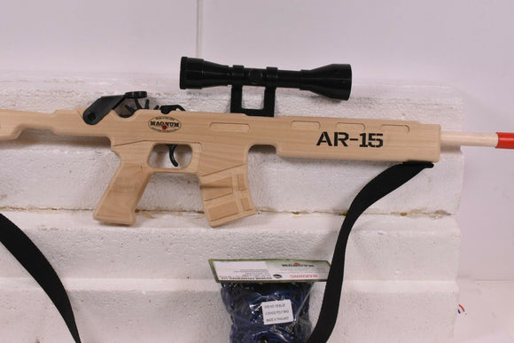 AR-15 Combat Rifle w/ Scope & Sling + Ammo | GL2AR15SS | Magnum Rubber Band Guns-Magnum wooden guns-ProTinkerToys