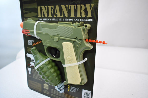 WW II INFANTRY SET TOY PLASTIC REPLICA 45CAL 1911 PISTOL AND GRENADE # 4642-Toys & Hobbies:Vintage & Antique Toys:Cap Guns:Diecast-ProTinkerToys.com
