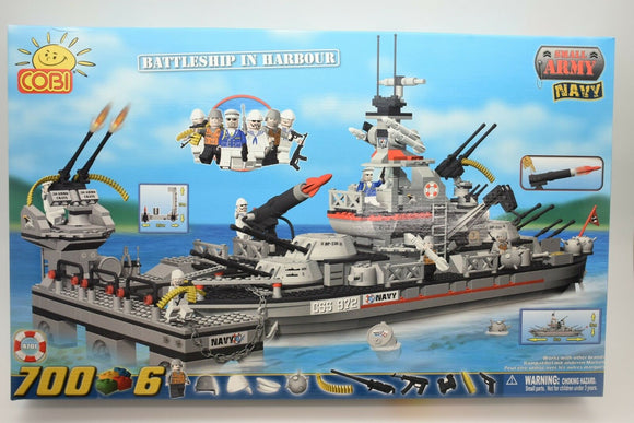 COBI 4701  SMALL ARMY NAVY BATTLESHIP IN HARBOUR PLUS 6 FIGURES 700 PARTS-COBI-ProTinkerToys